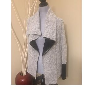 Open front gray and black cardigan size small